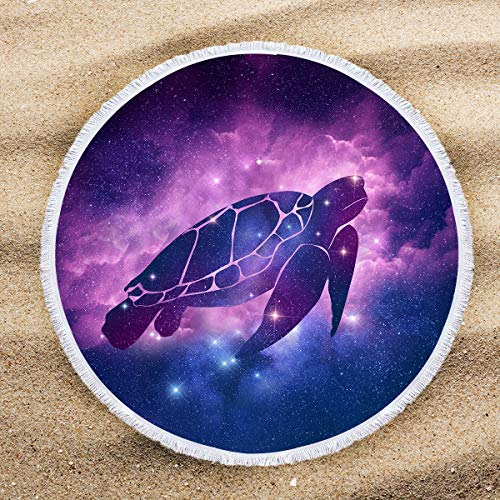 (ARIGHTEX Space Turtle Round Beach Towel Purple Galaxy Round Tablecloth Teens Circle Yoga Mat with Tassels Beaches Decoration 60