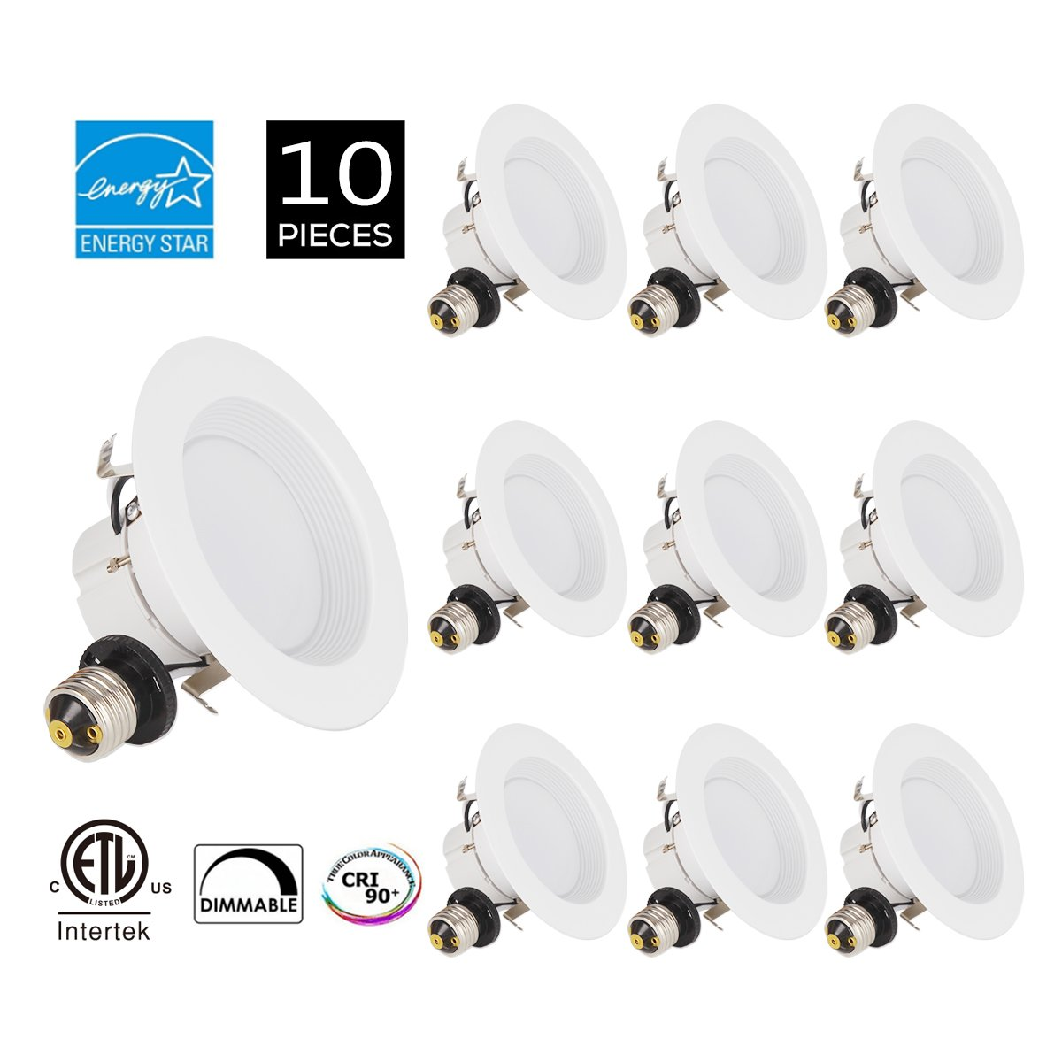 JJC 10Pack Recessed Lighting 4 Inch LED Dimmable Downlight Ceiling Lights 10W 5000K-Daylight 770LM CRI 90 Energy Star Certified&ETL-Listed