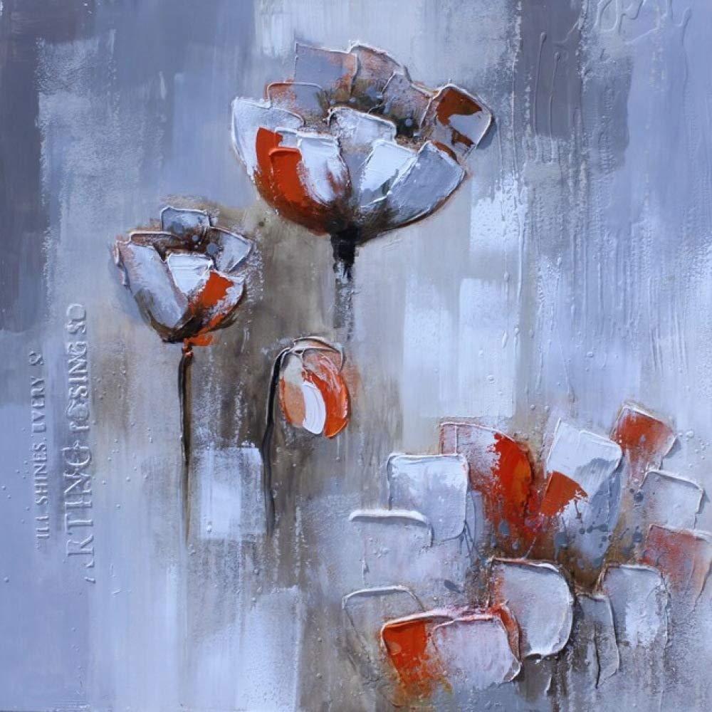Imprimir pintura al óleo abstracta de la flor roja blanca sobre ...