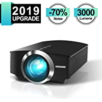Mini Beamer, GooDee Tragbar 3000 Lumen LED Projektor,Unterstützt 1080P Kompatibel mit Fire TV Stick HDMI VGA TF AV und USB für Heimkino Spiele Film PC Laptop PS4 Xbox Smartphone. MEHRWEG