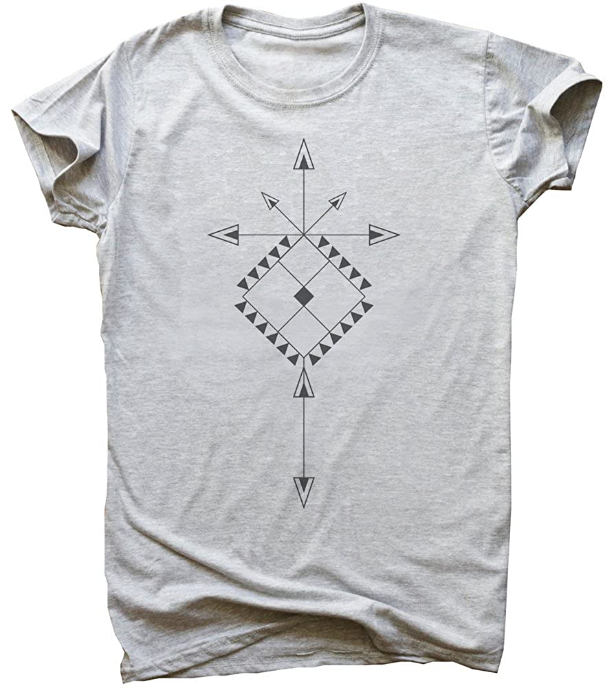 Minimal Ornament with Arrows Mens T-Shirt Large Gray