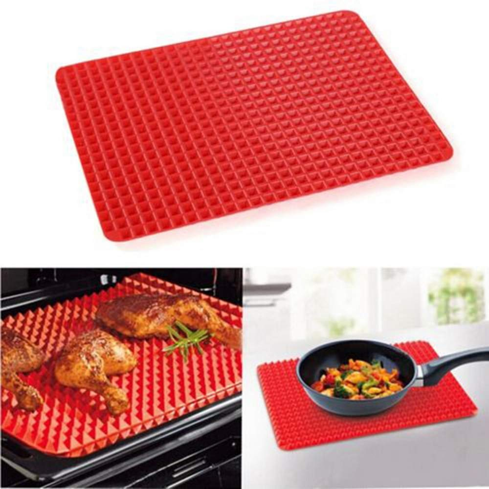 1 piece Nonstick Silicone Baking Tray Sheet Thin Pan Baking Pads Mould Easy Method for Oven Red Pyramid Bakeware Kitchen Tools 3927cm
