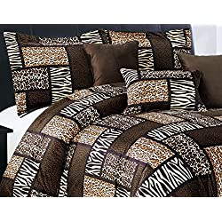 7 Piee QUEEN Size Safari Comforter set - Leopard, Tiger Zebra, Etc - Multi Animal Print Bed in a Bag Brown Black Beige Micro Fur Bedding