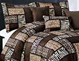 7 Piece (California) CAL KING Size Safari Comforter set - Leopard, Tiger Zebra, Etc - Multi Animal Print Bed in a Bag Brown Black Beige Micro Fur Bedding