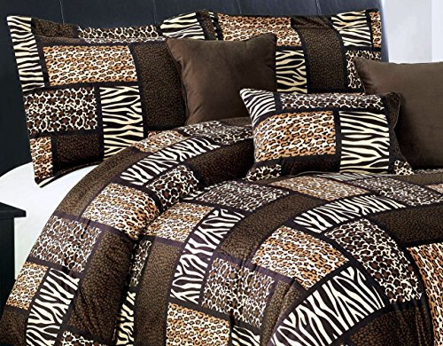 7 Piee QUEEN Size Safari Comforter set - Leopard, Tiger Zebra, Etc - Multi Animal Print Bed in a Bag Brown Black Beige Micro Fur Bedding