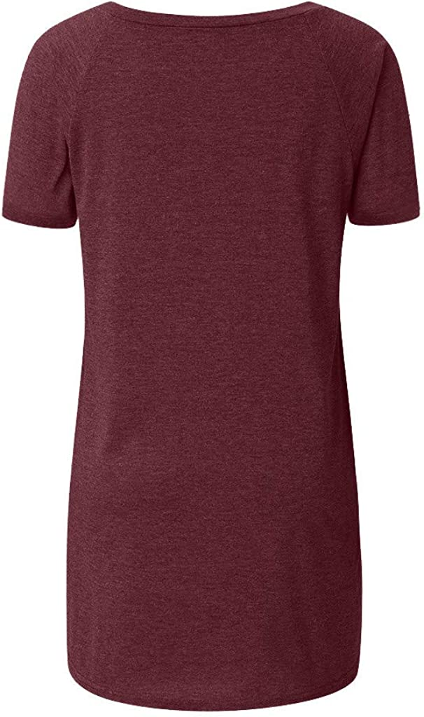 EDC Short Sleeve Tunics for Women to Wear with Leggings Oversized V Neck Solid T Shirt Tops Blouse Tee Plus Size S-5XL