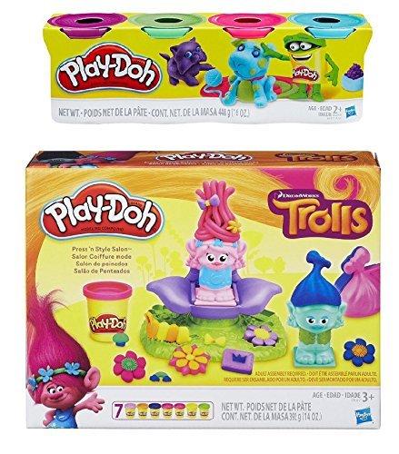 Dreamworks Trolls Play-Doh Press & Style Salon & Extra 4 Pac