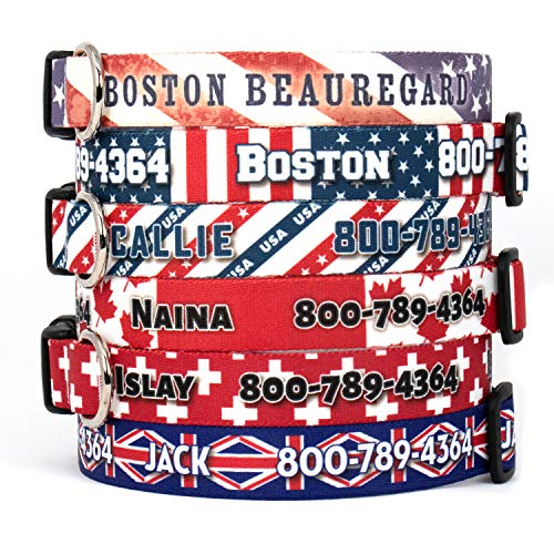 (Buttonsmith Flags Dog Collar - Fadeproof Permanently Bonded Printing, Military Grade Rustproof Buckle, Resistant to Odors & Mildew, Choice of 6 Sizes, Made in The USA)