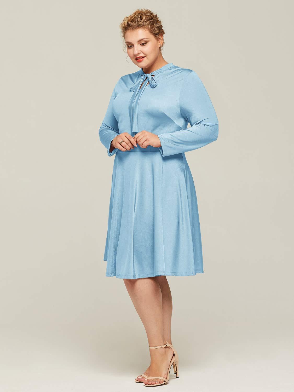 Alicepub Women\'s Tie Neck Plus Size Dress Long Sleeve A-line Casual Work  Party Mother Dresses, Carolina Blue, US10