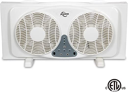 Powerful Window Fan Twin Dual In Portable Exhaust Reversible Small Large Kitchen