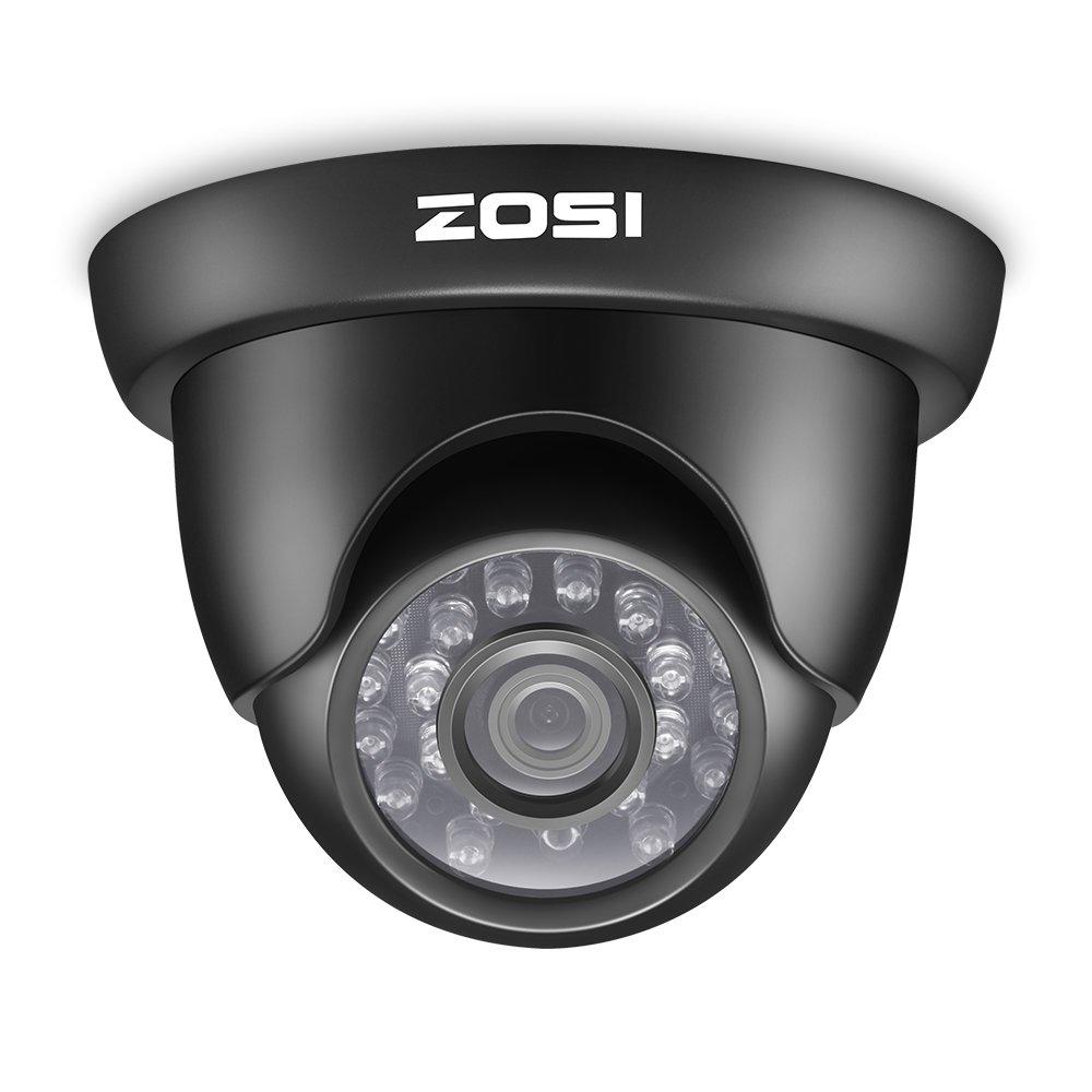 ZOSI CCTV 1000TVL 960H Caméra Dôme Système de Surveillance Extérieure Vision Nocturne 20m, 24Leds IR, Objectif 3.6mm, Caméra Noire