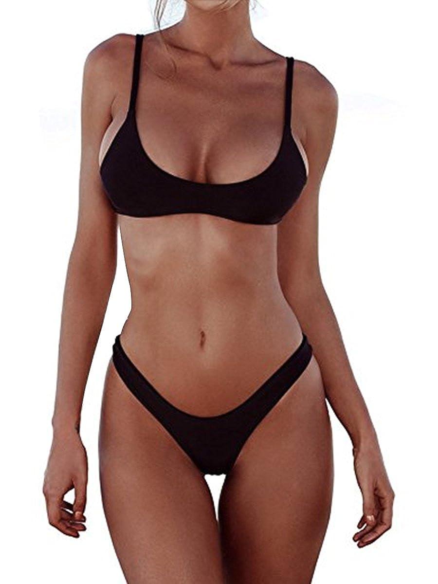 4a9fd11b5d4 Amazon.com: Women Bikini Sets Brazilian Padded Top Thong Cheeky Bikini  Bottom 2PCs 2019 Swimsuit for Women: Clothing