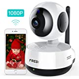 FREDI Wireless IP Camera, 1080P HD Baby Monitor, WiFi IP Camera Home Surveillance Security Camera, Cloud Service/IR NightVision/Motion Detection/Two-Way Audio, Pan/Tilt/zoom for Nanny Pet Dog Camera