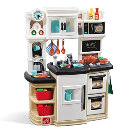 Step2 Great Gourmet Kitchen | Durable Kids Kitchen Playset with Lights &  Sounds | Tan Plastic Play Kitchen