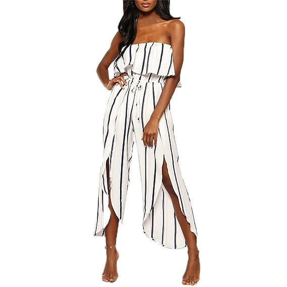 ae118c911cd ❤️Bluestercool❤ Fashion Women Off The Shoulder Reffle Striped Playsuit  Party Clubwear Jumpsuit (XL UK 12