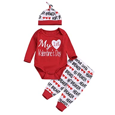 19a64e4d00a24 3PCS Newborn Baby Boy Girl My 1st Valentine's Day Outfit Clothes Infant  Romper + Letter Pants Hat Set