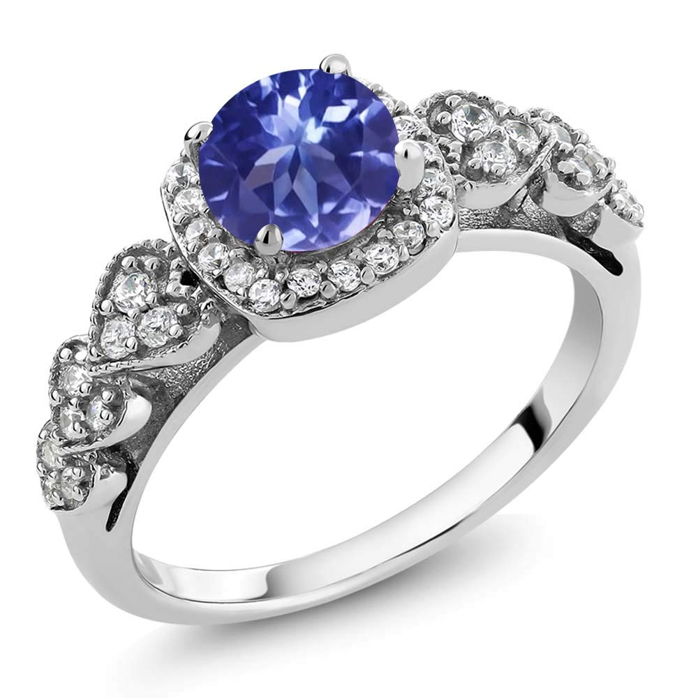 Gem Stone King 1.22 Ct Round Blue Tanzanite AAAA 925 Sterling Silver Ring (Size 7) by Gem Stone King