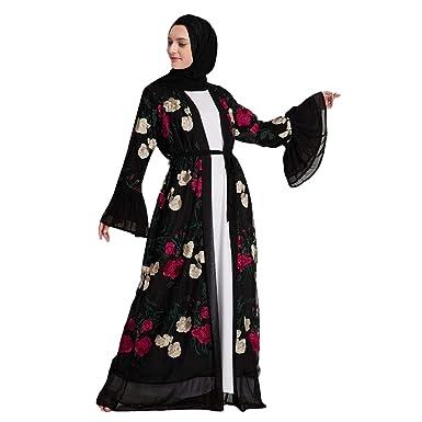 b88a259393469 2019 New! Muslim Women Dress, Fashion Flower Embroidery Open ...