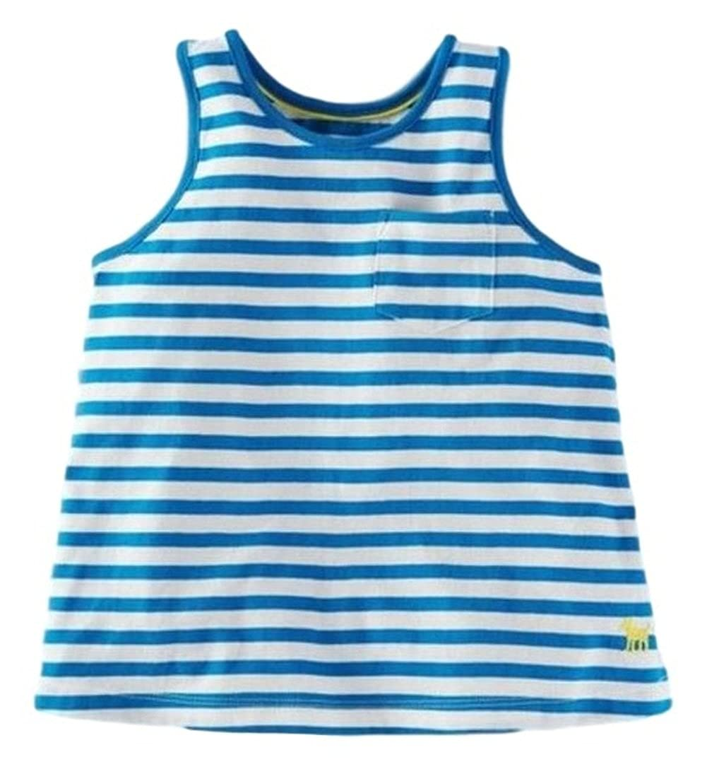Ex Mini Boden Blue White Stripey Summer Vest Cami Tank Top 2-3 Years 11-12 Years