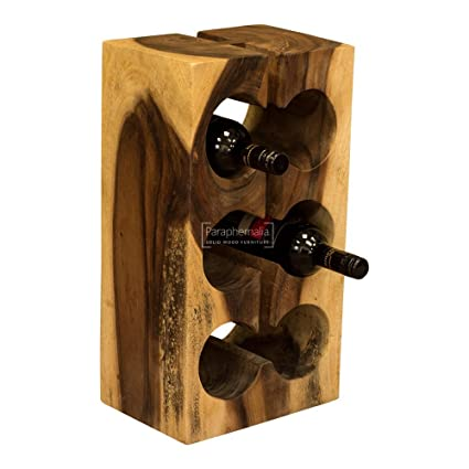 b7167e4ab2 Solid suar wood block wine bottle holder / rack - 6 Bottle (Part of our  monkey pod range): Amazon.co.uk: Kitchen & Home