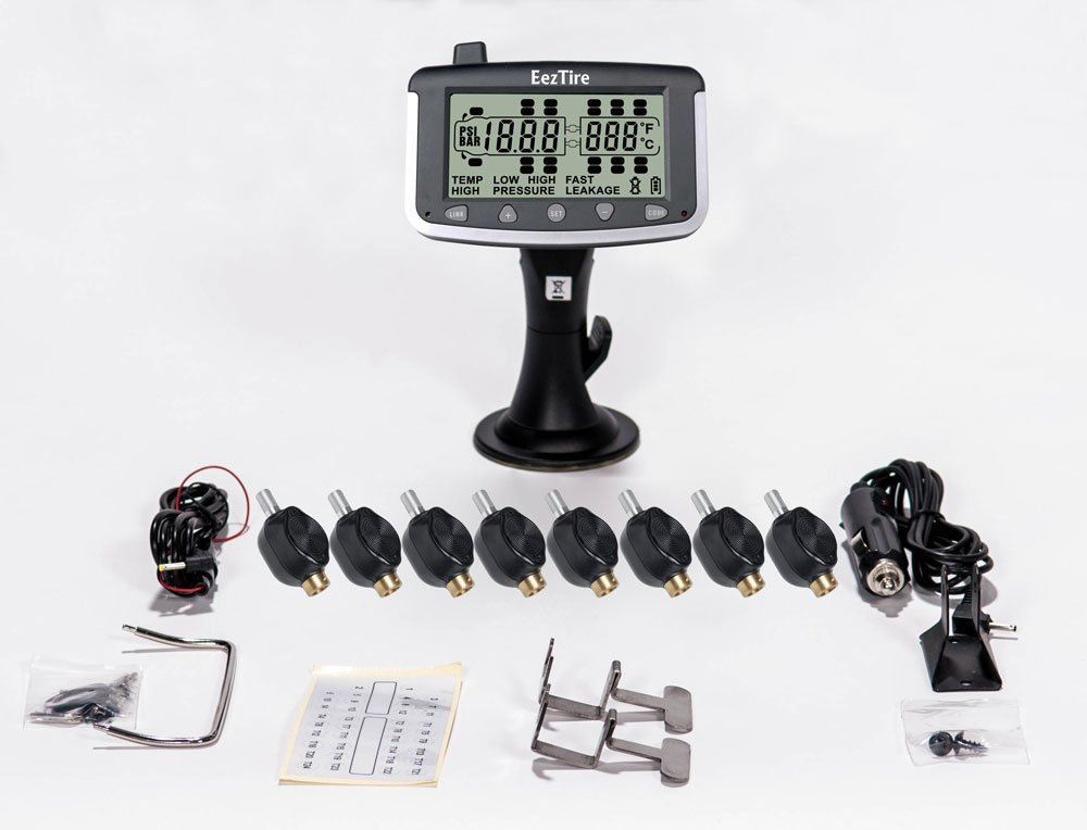 EEZTire Tire Pressure Monitoring System - 8 Flow-Through Sensors (TPMS)