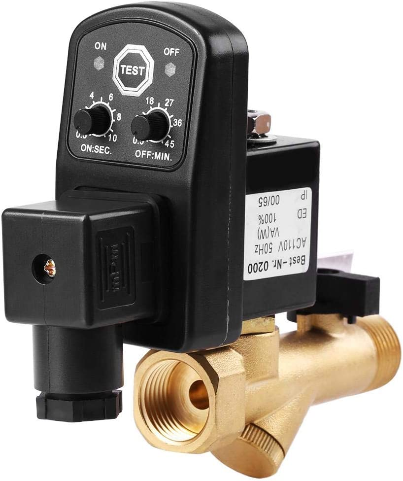 Integrated Valve AC 230V G1//2 DN15 Automatic Electronic Timed Drain Valve Air Tank Water Moisture for Air Compressor Condensate Management