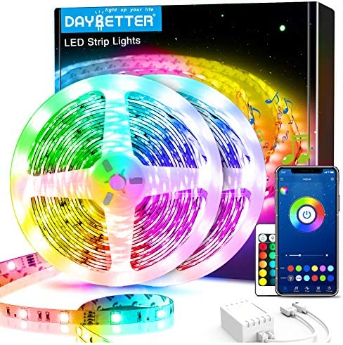 60ft Daybetter Smart Led Lights,5050 RGB Led Strip Lights Kits with Remote, App Control Timer Schedule Led Music Strip Lights(2 Rolls of 30ft)
