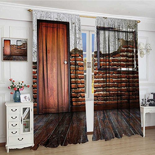 Antique Room Darkening Curtains Picture Frame on Damaged Brick Wall Aged Old Room Rustic Wooden Floor Blackout Draperies For Bedroom 96''x84'' Dark Orange Brown White by smallbeefly