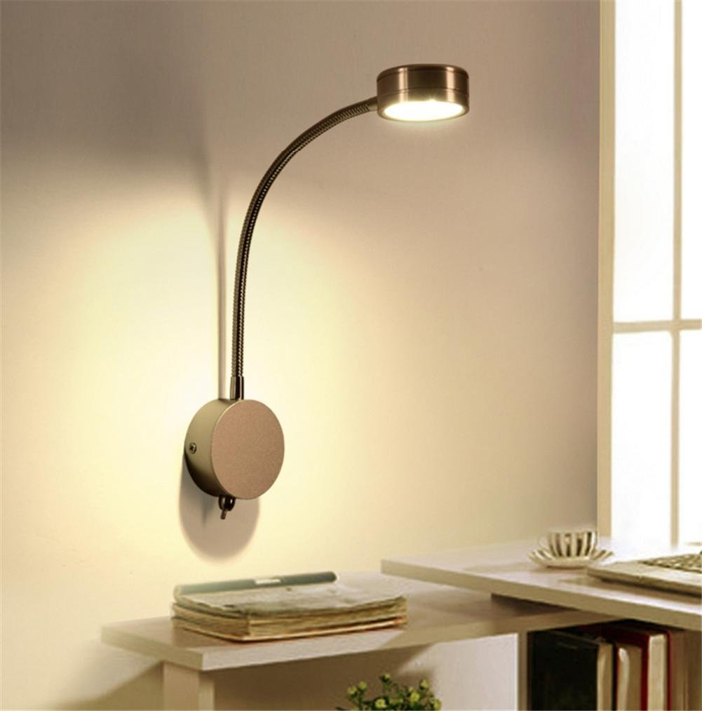 Wall Lights Modern LED Reading Bedside Electroplating Metal Wall Lamp And 360 Degrees Flexible Gooseneck Swing Arm With Switch Living Room Bedroom Hotel Wall Surface Mounted Sconces Decoration Light