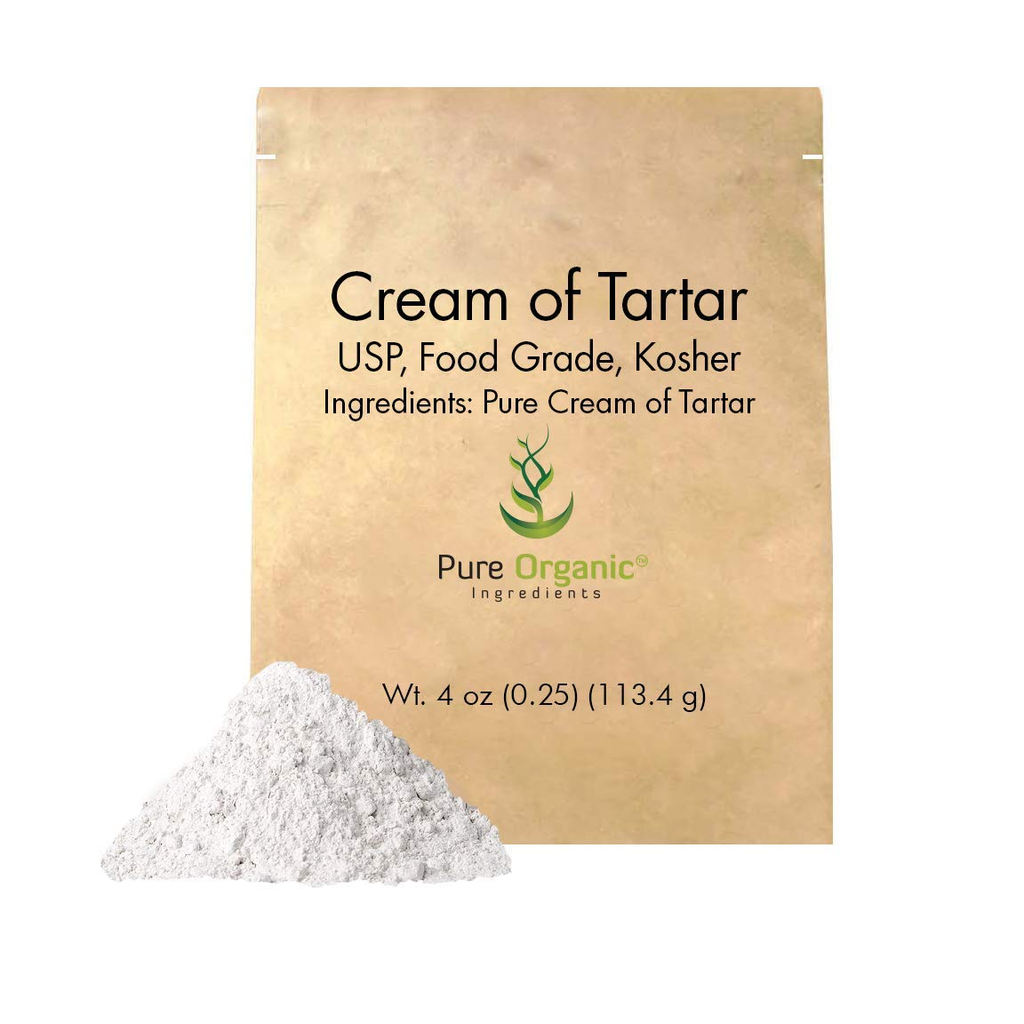 Cream of Tartar (4 oz.) by Pure Organic Ingredients, Highest Purity, Baking Additive, Non-GMO, Kosher, Gluten-Free, All-Natural, DIY Bath Bombs, Mess Free