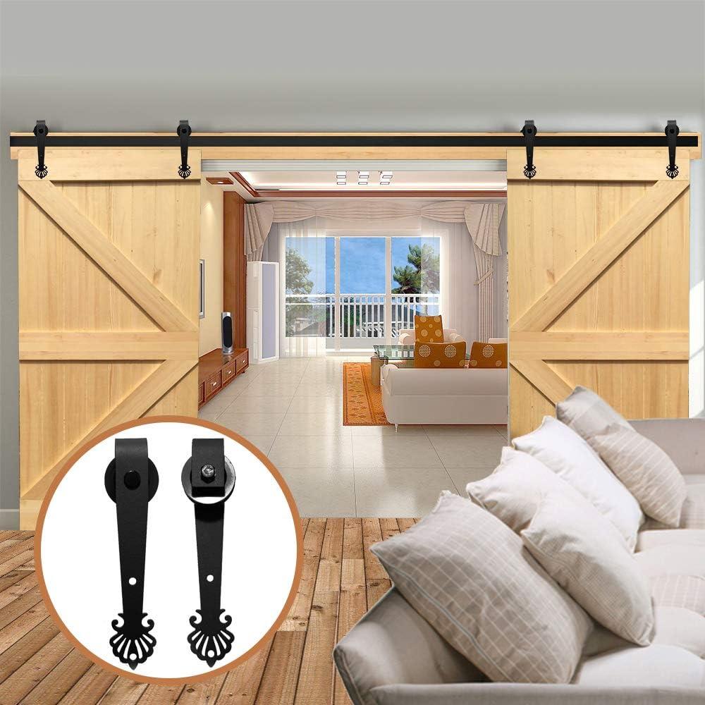 LWZH - Kit de herramientas para puerta corredera de granero de 10 pies para ganchos en forma de corona negra de doble puerta (cada puerta de ancho de 76,2 cm)