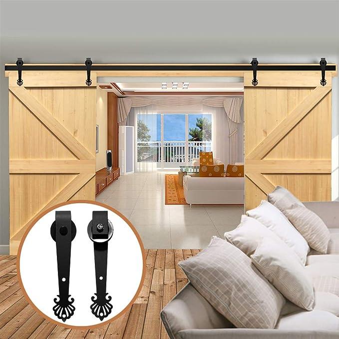 LWZH - Kit de herramientas para puerta corredera de granero de 10 pies para ganchos en forma de corona negra de doble puerta (cada puerta de ancho de 76,2 cm): Amazon.es: Bricolaje