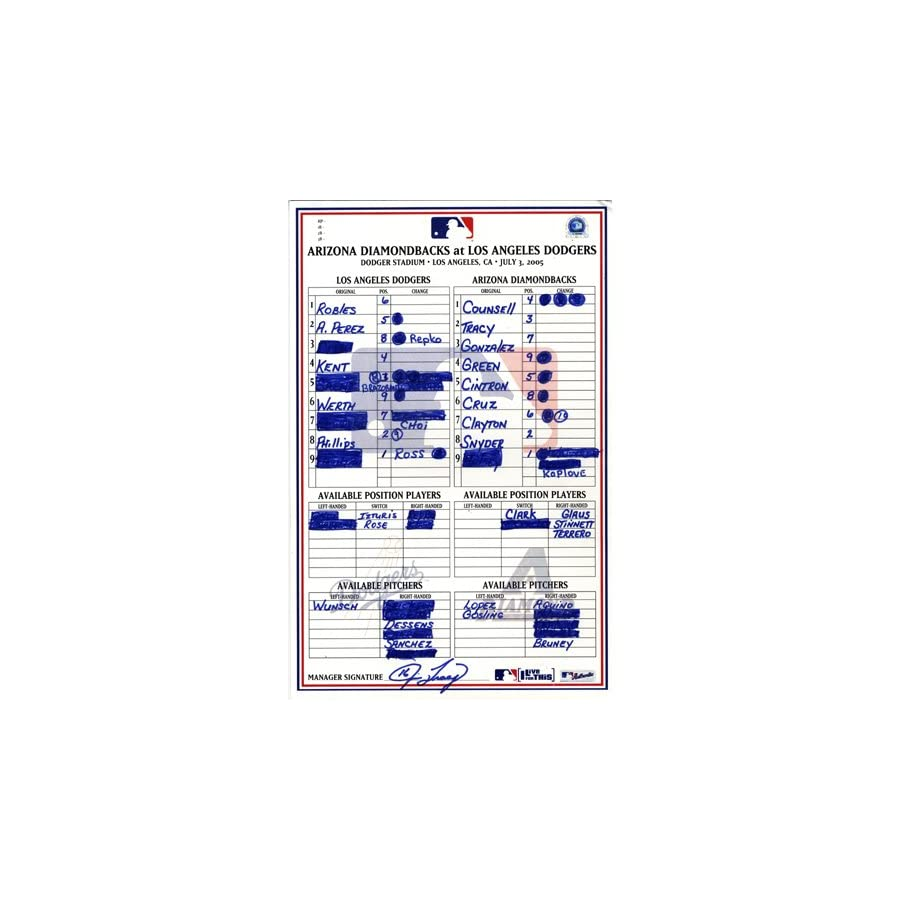 Diamondbacks Vs. Dodgers 7 03 2005 Authenticated Game Used Lineup Card Jim Tracy Autographed