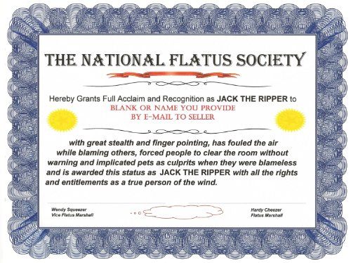 NATIONAL FLATUS SOCIETY HUMOROUS AWARD CERTIFICATE w/ CITATION: for Funny Gifts, Gags and Jokes