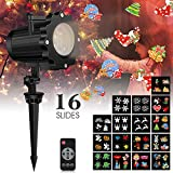 Led Christmas Light Projector with 16 Slides, Weihao Bright Led Landscape Spotlight with Remote control,Dynamic Lighting Projector Show for Christmas, New Year Holiday, Party, Valentine Decoration