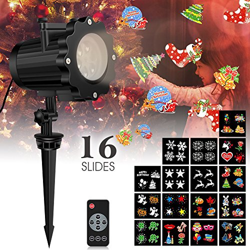 Led Christmas Light Projector with 16 Slides, Weihao Bright Led Landscape Spotlight with Remote control,Dynamic Lighting Projector Show for Christmas, New Year Holiday, Party, Valentine Decoration by Weihao