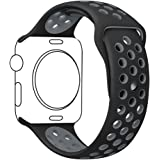 Ocydar Apple Watch Band 42mm, Soft Silicone Nike+ Sport Style Replacement iWatch Strap Band for Apple Watch Series 1 Series 2, Apple Watch Nike+, M/L Size - Black / Cool Gray