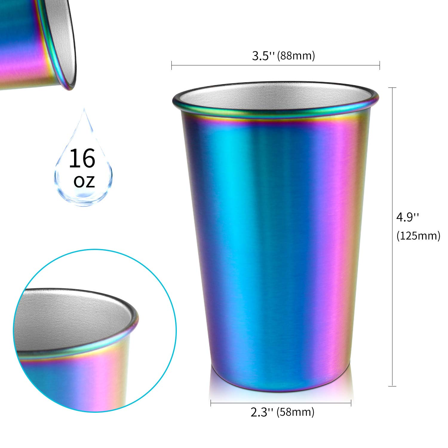 Rainbow Party Cups, Kereda Stainless Steel Cups 16oz 5-Pack Premium Drinking Glasses Unbreakable Colorful Tumblers BPA Free Eco Friendly by KEREDA (Image #7)