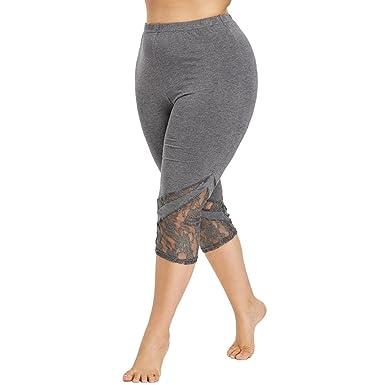 4515c7de5e Amazon.com: BSGSH Yoga Capris for Women Floral Lace Splicing High Waist  Yoga Pants Workout Leggings Plus Size: Clothing