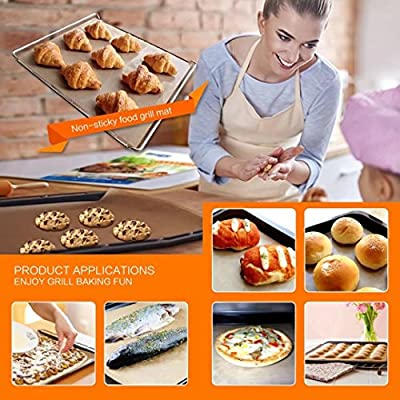 NETCAT - Copper Grill Mat 4 Pack - 100% Non-stick BBQ Grill Mats - Grill Mats and Bake Mats 6pack