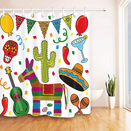 youyoutang Clip Art Mexican Fiesta Party Shower Curtain Set Bathroom Waterproof Fabric,3D High-Definition Printing Does Not Fade,12 Shower Hooks,180X180CM,Home Decor,Bathroom Accessories ()