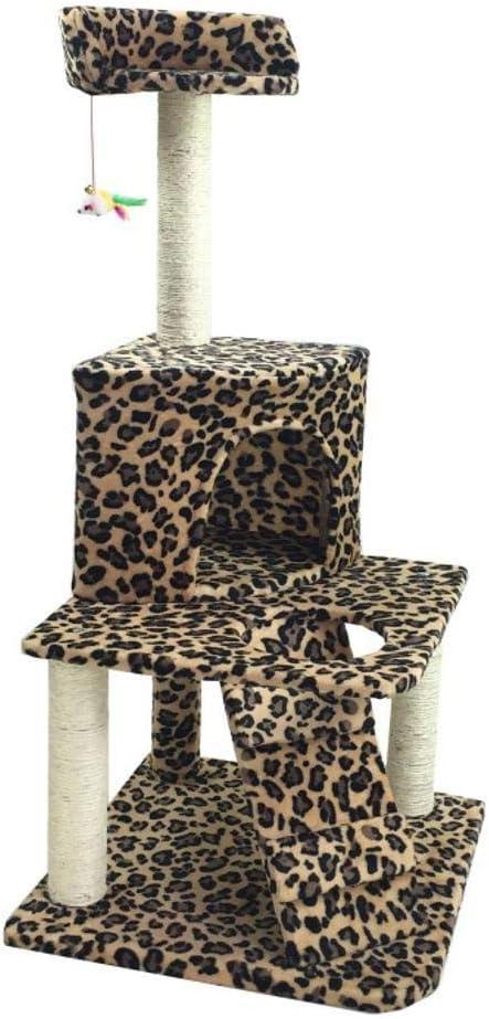 Meilandeng Árboles de Actividades para Gatos Gancho agarrador del Animal doméstico Gato Juguete Muebles Cama del Nido Junta Villa Gato casa Escalera 50 * 50 * 112 cm Placa/cáñamo Cuerda/Franela: Amazon.es: Hogar