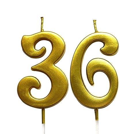 Amazon.com: Magjuche - Vela de cumpleaños número 36 con ...