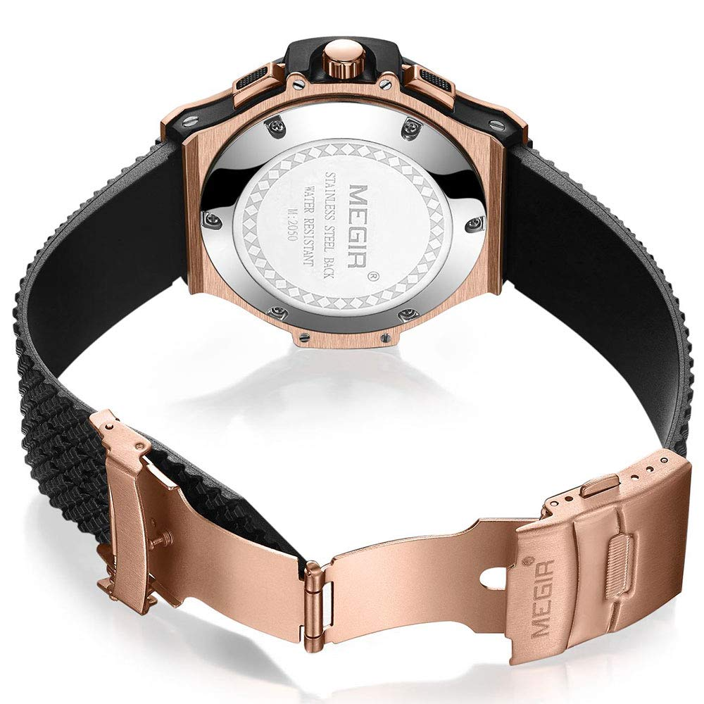 Amazon.com  BAOGELA Mens Black Dial Chronograph Military Quartz Watch with  Black Silicone Strap  Sports   Outdoors eaa4e38dce