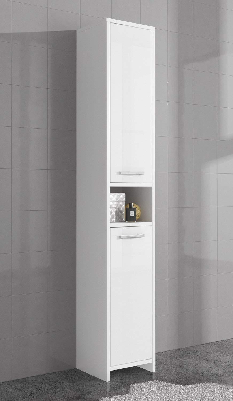 Badplaats Freestanding bathroom cabinet tall storage cupboard 168cm high gloss white bath furniture