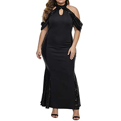 822 - Plus Size Sequins Ruffle Enchantment Maxi Cocktail Prom Dress at Women's Clothing store
