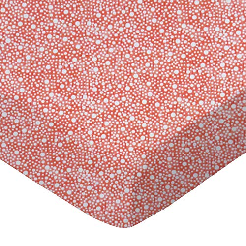 (SheetWorld Fitted 100% Cotton Percale Cradle Sheet 18 x 36, Confetti Dots Coral, Made in USA)