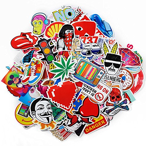 100-Pack SuprCool Waterproof Vinyl Stickers For Laptop, Macbook, Skateboard, Luggage, Car, Bicycle - Funny Random Sticker (Journal Booklet Music)