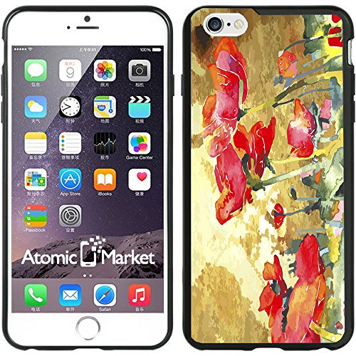 IP6+ Vintage Poppy Field Water Colors For Iphone 6 Plus 5.5 Inch Case Cover