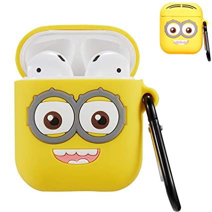 reputable site fd5fa d42ed Punswan Two Eye Yellow Airpod Case for Airpods 1&2,Cute 3D Funny Cartoon  Character Soft Silicone Catalyst Cover,Kawaii Fun Cool Keychain Design ...